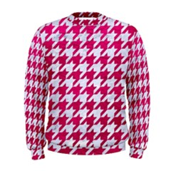 Houndstooth1 White Marble & Pink Leather Men s Sweatshirt