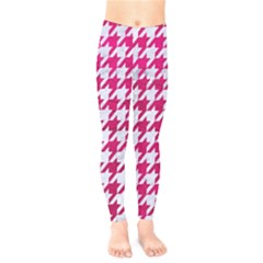 Houndstooth1 White Marble & Pink Leather Kids  Legging