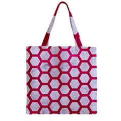 Hexagon2 White Marble & Pink Leather (r) Zipper Grocery Tote Bag by trendistuff