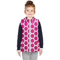 Hexagon2 White Marble & Pink Leather Kid s Hooded Puffer Vest