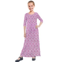 Hexagon1 White Marble & Pink Leather (r) Kids  Quarter Sleeve Maxi Dress by trendistuff