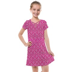 Hexagon1 White Marble & Pink Leather Kids  Cross Web Dress