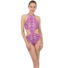 Damask2 White Marble & Pink Leather (r) Halter Side Cut Swimsuit
