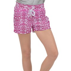 Damask2 White Marble & Pink Leather (r) Women s Velour Lounge Shorts