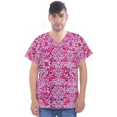 Damask2 White Marble & Pink Leather Men s V Neck Scrub Top by trendistuff