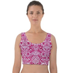 Damask2 White Marble & Pink Leather Velvet Crop Top