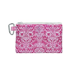 Damask2 White Marble & Pink Leather Canvas Cosmetic Bag (small) by trendistuff