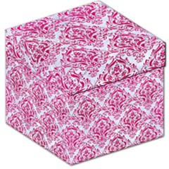 Damask1 White Marble & Pink Leather (r) Storage Stool 12   by trendistuff