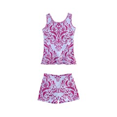 Damask1 White Marble & Pink Leather (r) Kid s Boyleg Swimsuit