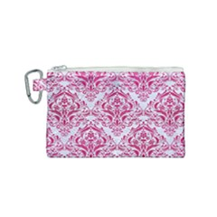 Damask1 White Marble & Pink Leather (r) Canvas Cosmetic Bag (small) by trendistuff