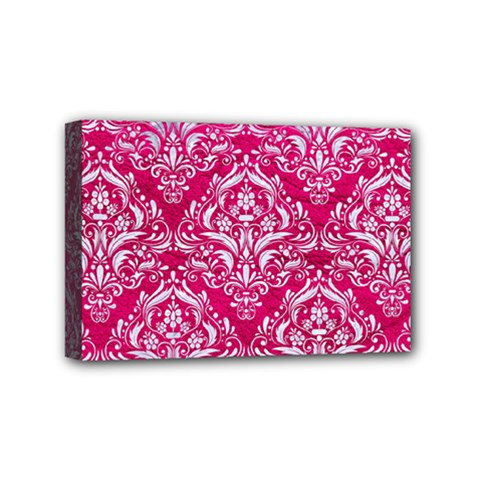 Damask1 White Marble & Pink Leather Mini Canvas 6  X 4  by trendistuff