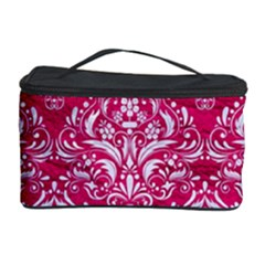 Damask1 White Marble & Pink Leather Cosmetic Storage Case by trendistuff