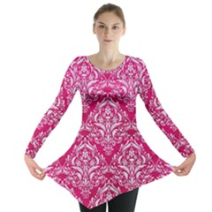 Damask1 White Marble & Pink Leather Long Sleeve Tunic