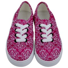 Damask1 White Marble & Pink Leather Kids  Classic Low Top Sneakers