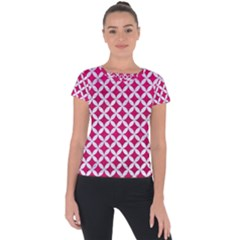 Circles3 White Marble & Pink Leather Short Sleeve Sports Top
