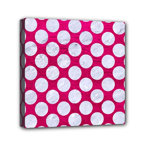 Circles2 White Marble & Pink Leather Mini Canvas 6  X 6