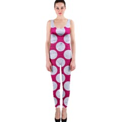 Circles2 White Marble & Pink Leather One Piece Catsuit
