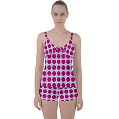 Circles1 White Marble & Pink Leather (r) Tie Front Two Piece Tankini