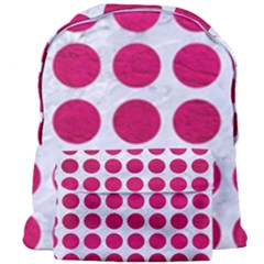 Circles1 White Marble & Pink Leather (r) Giant Full Print Backpack by trendistuff