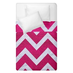 Chevron9 White Marble & Pink Leather Duvet Cover Double Side (single Size) by trendistuff