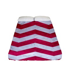 Chevron3 White Marble & Pink Leather Fitted Sheet (full/ Double Size) by trendistuff