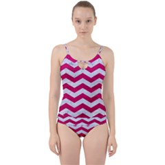 Chevron3 White Marble & Pink Leather Cut Out Top Tankini Set by trendistuff