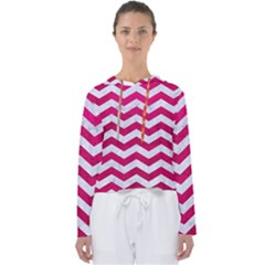 Chevron3 White Marble & Pink Leather Women s Slouchy Sweat