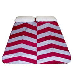 Chevron2 White Marble & Pink Leather Fitted Sheet (queen Size) by trendistuff