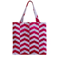Chevron2 White Marble & Pink Leather Zipper Grocery Tote Bag by trendistuff