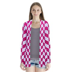 Chevron2 White Marble & Pink Leather Drape Collar Cardigan
