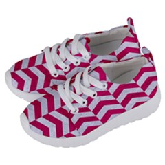 Chevron2 White Marble & Pink Leather Kids  Lightweight Sports Shoes by trendistuff