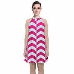 Chevron2 White Marble & Pink Leather Velvet Halter Neckline Dress