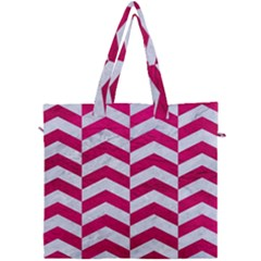 Chevron2 White Marble & Pink Leather Canvas Travel Bag by trendistuff