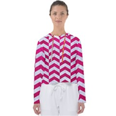 Chevron2 White Marble & Pink Leather Women s Slouchy Sweat