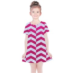 Chevron2 White Marble & Pink Leather Kids  Simple Cotton Dress