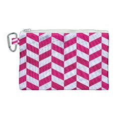 Chevron1 White Marble & Pink Leather Canvas Cosmetic Bag (large) by trendistuff