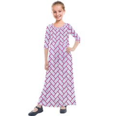 Brick2 White Marble & Pink Leather (r) Kids  Quarter Sleeve Maxi Dress