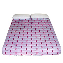 Brick1 White Marble & Pink Leather (r) Fitted Sheet (california King Size) by trendistuff