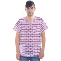 Brick1 White Marble & Pink Leather (r) Men s V Neck Scrub Top
