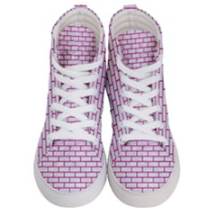 Brick1 White Marble & Pink Leather (r) Women s Hi Top Skate Sneakers