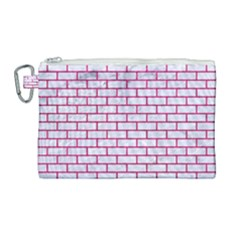 Brick1 White Marble & Pink Leather (r) Canvas Cosmetic Bag (large) by trendistuff