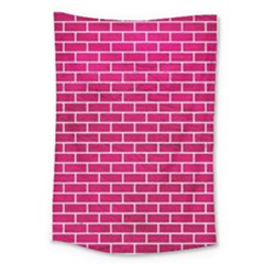 Brick1 White Marble & Pink Leather Large Tapestry by trendistuff