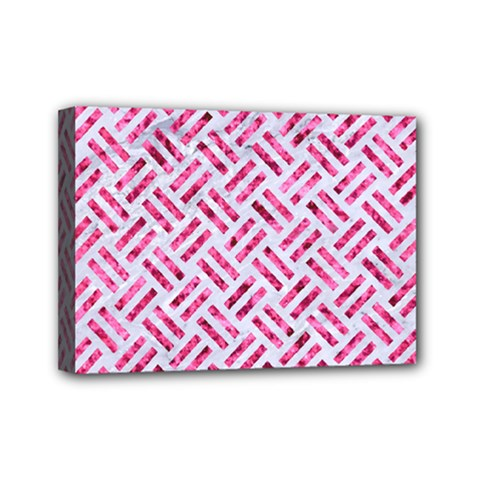 Woven2 White Marble & Pink Marble (r) Mini Canvas 7  X 5  by trendistuff