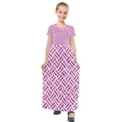 Woven2 White Marble & Pink Marble (r) Kids  Short Sleeve Maxi Dress