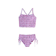 Woven1 White Marble & Pink Marble (r) Girls  Tankini Swimsuit by trendistuff