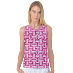 Woven1 White Marble & Pink Marble Women s Basketball Tank Top by trendistuff