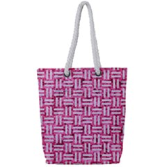 Woven1 White Marble & Pink Marble Full Print Rope Handle Tote (small) by trendistuff