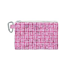 Woven1 White Marble & Pink Marble Canvas Cosmetic Bag (small) by trendistuff