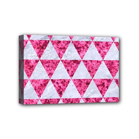 Triangle3 White Marble & Pink Marble Mini Canvas 6  X 4  by trendistuff