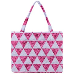 Triangle3 White Marble & Pink Marble Mini Tote Bag by trendistuff